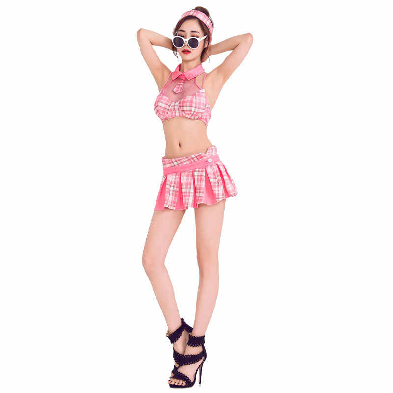 Розовый набор Чирлидера топ шорты рубашка головной убор Талия ткань наборы