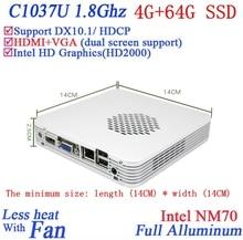 Рекламные мини-пк с windows linux 4 Г RAM 64 Г SSD Celeron 1037U dual core 1.8 Г HD Graphics DX10.1 поддержка HDCP alluminum