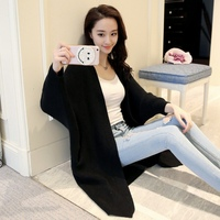Streetwear Uzun Tarzı Ile Kazak Cardigans Batwing Sleeve Gevşek Pamuk Örme Giysi Cep S4