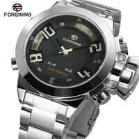 Nieuwste! relogio masculino Forsining FSG8093Q4S2 quartz analoog digitale LED display horloges voor mannen met zilveren armband
