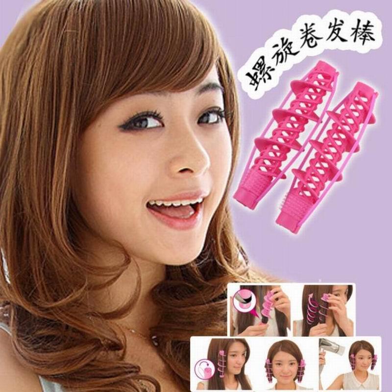 moda diy spiral varillas palos de pelo para rizar el cabello rizado rizo rizador de pelo
