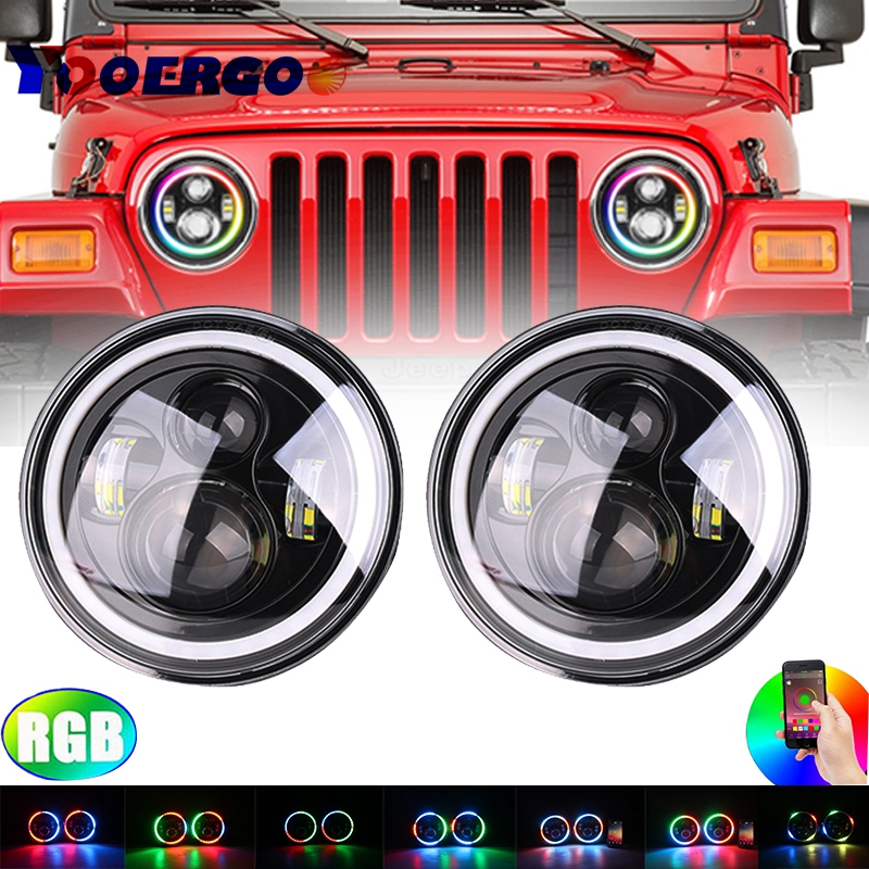 Recently Launched Car Accessories 7 Angel Eye Halo Self-Driven/Automatic RGB Headlights For Jeep Wrangler JK TJ LJ Hummer H1 H2 7 led headlights bulb rgb halo angel eye with bluetooth remote for 1997 2016 jeep wrangler jk lj cj hummer h1 h2 headlamp