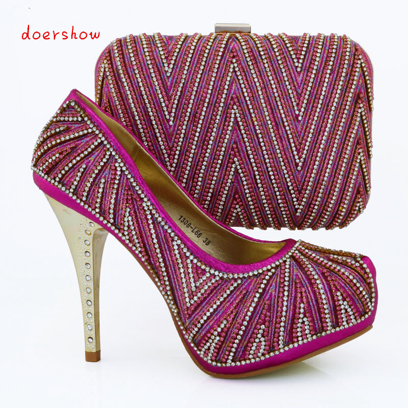 doershow Beautiful Italian summer style shoes matching with bag,High quality African round toe shoes and bag sets  fuchsia WOW39