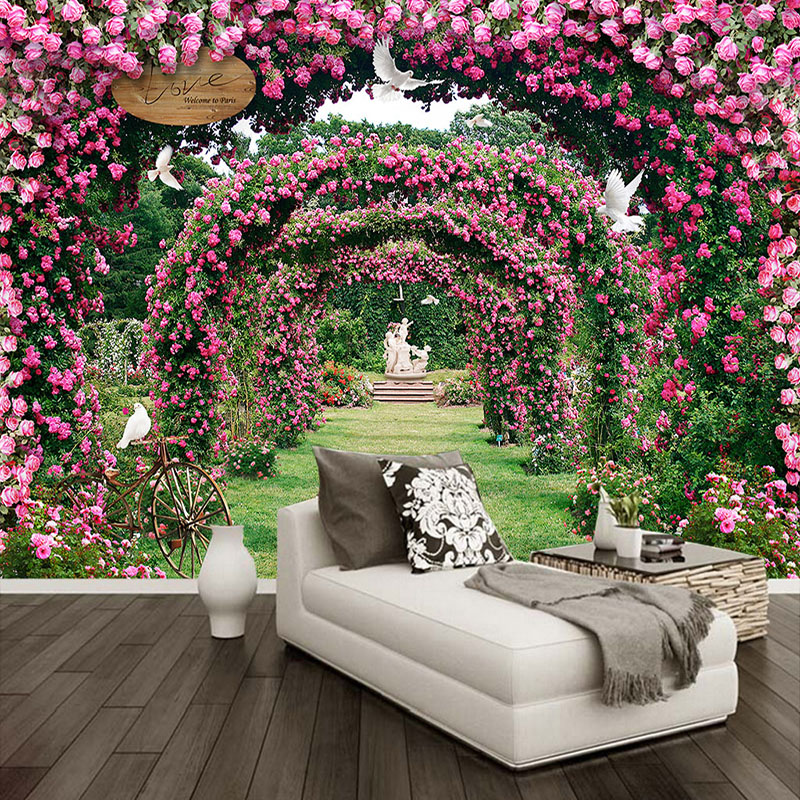 Custom 3D Wall Mural Modern Romantic Rose Landscape Pastoral Wallpaper Wedding House Bedroom Background Wall 3 D Papel De Parede