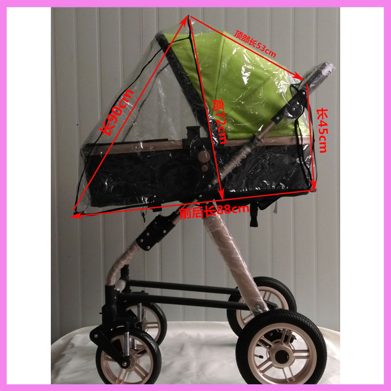 PVC High Landscape Baby Stroller Rain Cover Windproof Baby Carriage Rain Cover Car Seat Sleeping Basket Pushchair Pram Accessory