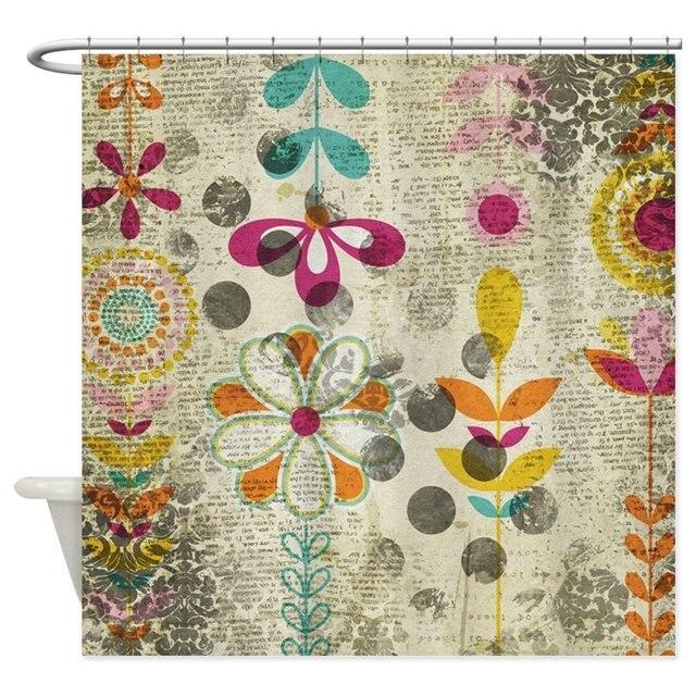 Bohemian Boho Flowers Decorative Fabric Shower Curtain Bath Products Bathroom Decor With Hooks Waterproof