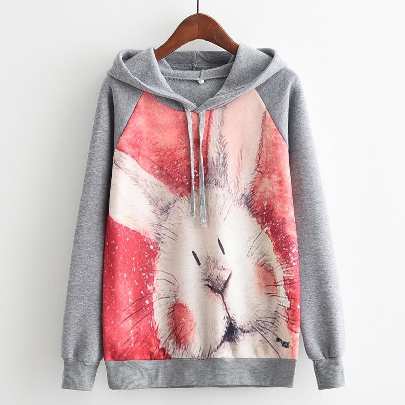 KaiTingu Brand Fashion Autumn Winter Long Sleeve Women Sweatshirt Harajuku Rabbit Print Hoodies Tracksuit Jumper Pullover
