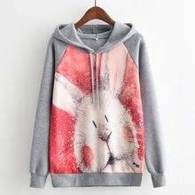 Kaitingu модный бренд осень-зима с длинным рукавом Для женщин Толстовка Harajuku кролик печати Худи костюм Джемпер Пуловер