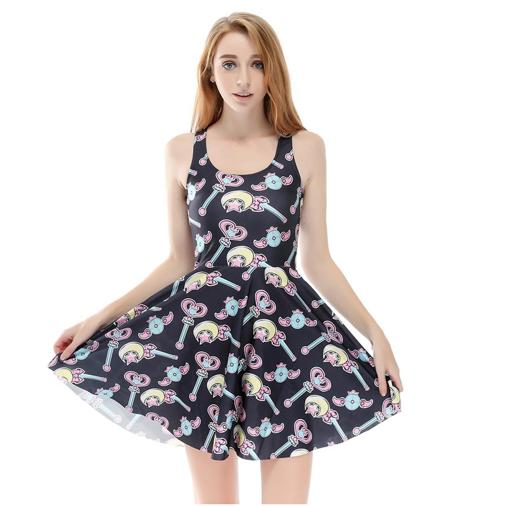 Hot Sales Big Size Graffiti Print Grils Summer Skater Black Dress Blue Goemetric Print Sleeveless Harajuku Dresses S To 4xL