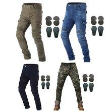 Мотоциклетные джинсы для езды с 4 X панцири наколенники набедренные наколенники штаны для мотокросса мотоциклетные велосипедные брюки панцири защитные штаны
