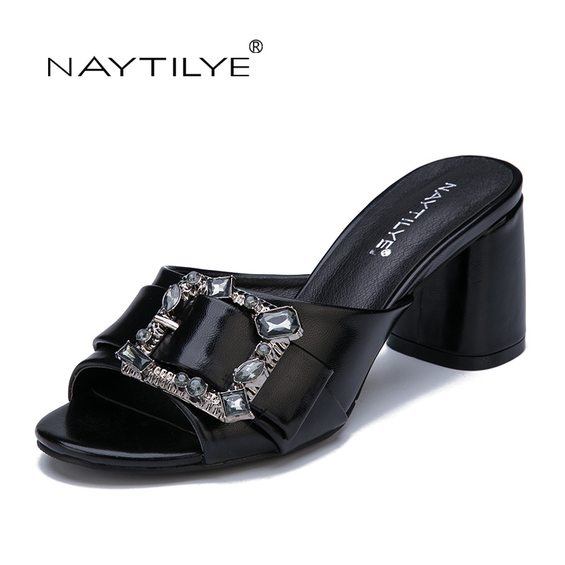 Sandals women 2017 summer PU leather 36-41 size Black Silver High heels shoes woman Free shipping NAYTILYE