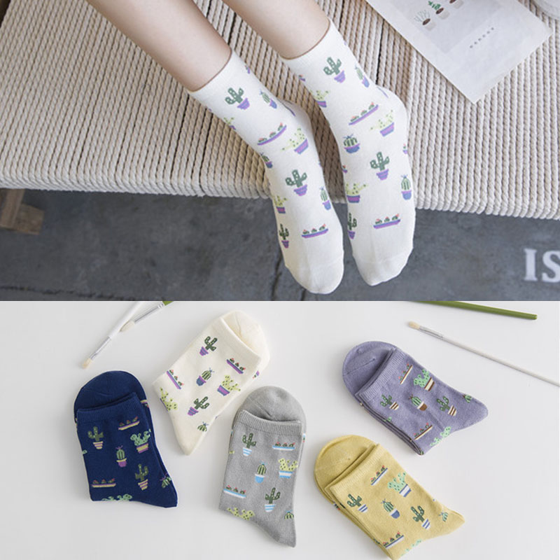 5 Pair/lot Korea Ulzzang Cactus Cute Small Pattern Socks Women Cotton White Purple Gray Yellow Weed Socks Plant life Simple Soks