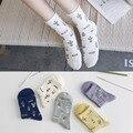 5 Par/lote Coréia Ulzzang Cacto Bonito Pequeno Padrão Meias Mulheres Meias Daninhas Planta vida Simples de algodão Branco Cinza Roxo Amarelo Soks