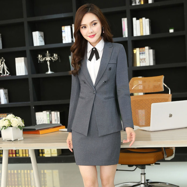 New Professional Formal Ol Styles Business Women Skirt Suits With Jackets  And Mini Skirt Slim Fashion 6e558067e