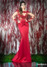 Appliqued See Through Peplum long sleeve Red Mermaid Evening Dresses Vestidos De Noche Largos 2014 angel fashions vintage 1920 s strapless embroidery see through lace up long evening dress vestidos de noche black 189