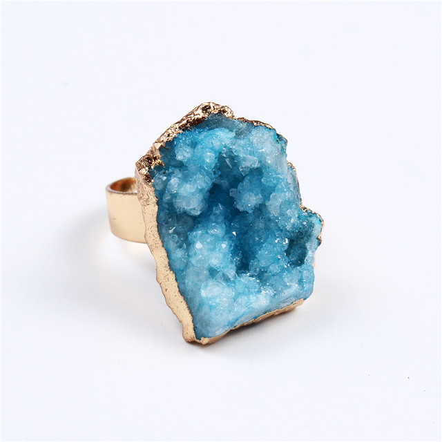 Dayoff Bohemia Geometric Irregular Natural Stone Ring For Women Jewelry Gift Dru