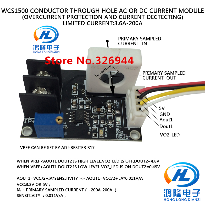 WCS1500 Over Current Protect Conductor Through Hole -3.6A-200A Sensitivity 0.011V/1A , Power Supply 5V
