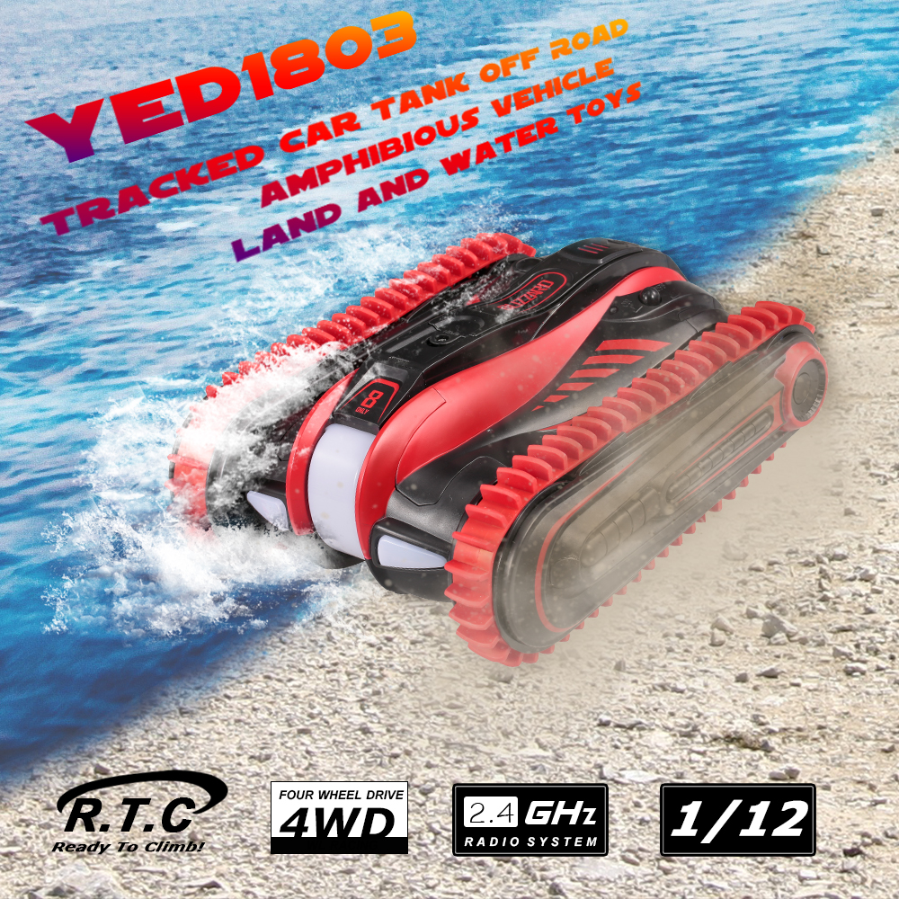 YED1803 1 12 4WD RC Car Tracked Cars Speed Off Road Amphibious Vehicle Land Water Toys