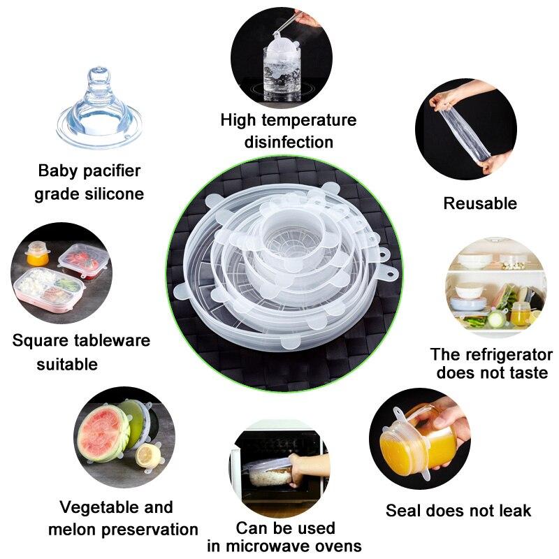 Многоразовая силиконовая Пищевая контейнер с крышкой охватывает обертка для еды свежие поддержанию эластичный бытовой Кухня комплект XHC88