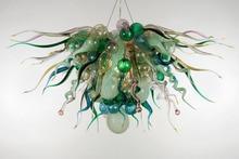 Luxury Mint Green Bold Colors LED Lights Hand Blown Glass Ceiling Chandelier Light Fixture