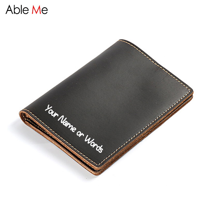 Simple design crazy horse leather wallet travel passport holder custom name purse gift Handmade Passport card holder wallet men crazy horse leather billfolds wallet card holder leather card case for men 8056r 1
