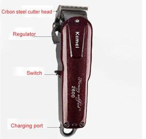 Image 3 - Kemei máquina profesional de corte de pelo eléctrica con cuchilla de titanio, corte de pelo, barbero, peine de límite para niños y adultos, 110 240V