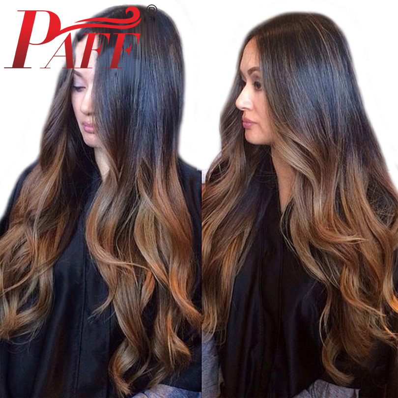 PAFF 150 Density Body Wave Human Hair Full Lace Wigs Natural Color Brazilian Ombre Two Tone
