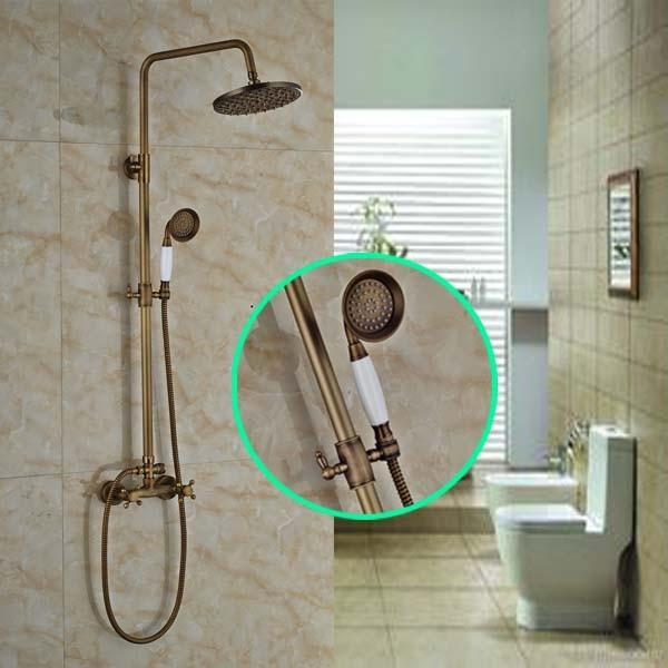 Two Handles Rain Shower Faucet Wall Mount Bathroom 8 Brass Shower Set Mixer Taps + Ceramic Handshower bathroom chrome shower faucet set with thermostatic mixer valve wall mount 8 ultrathin rain showerhead handshower