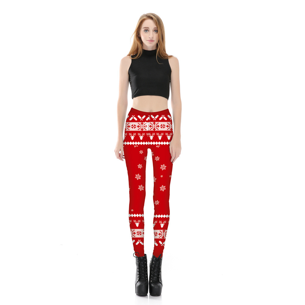1f6eade8f28 Fashion Women Leggings snow Deer 3D Printed Christmas Leggings Female  Stretch Pants Plus Size Red -in Leggings from Women s Clothing on  Aliexpress.com ...