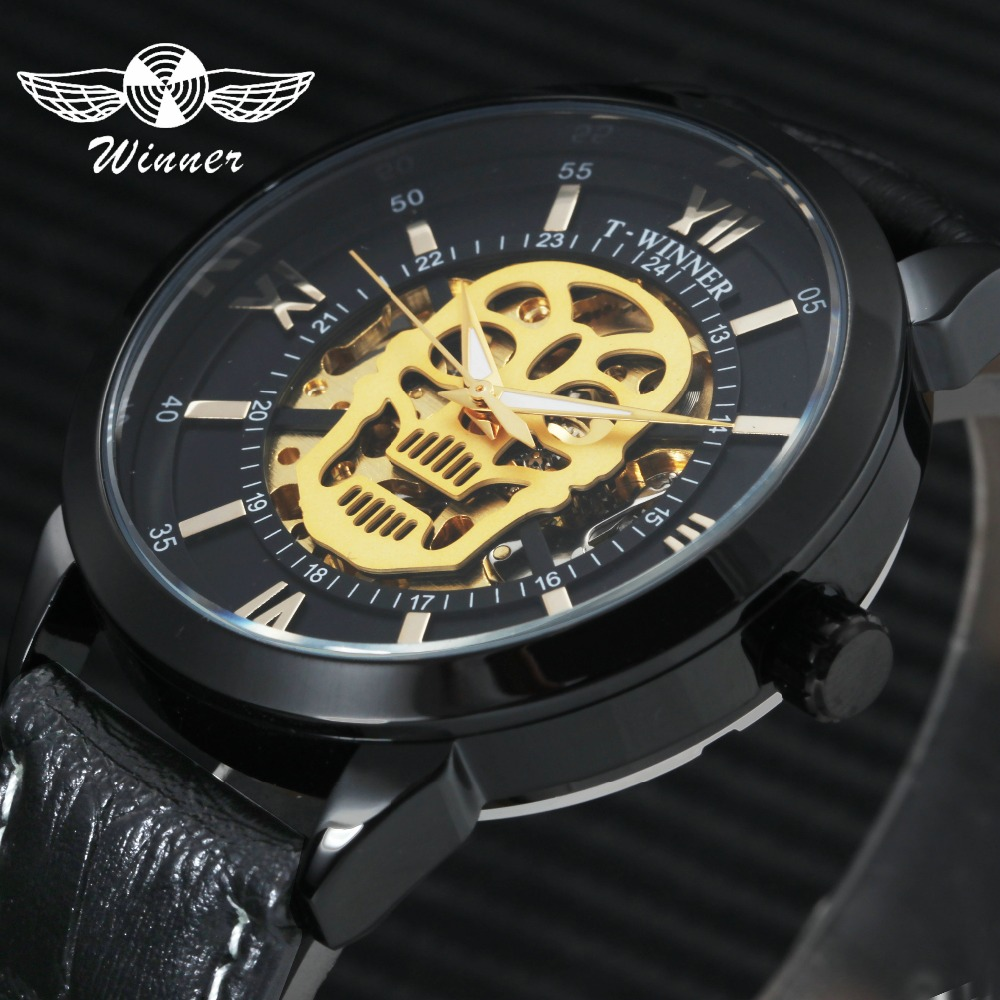WINNER Mens Watches Top Brand Luxury Leather Strap Skeleton Skull Auto Mechanical Fashion Steampunk Wrist Watch Men + Gift Box mens mechanical watches top brand luxury watch fashion design black golden watches leather strap skeleton watch with gift box