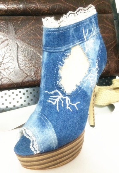 Platform denim woman shoes