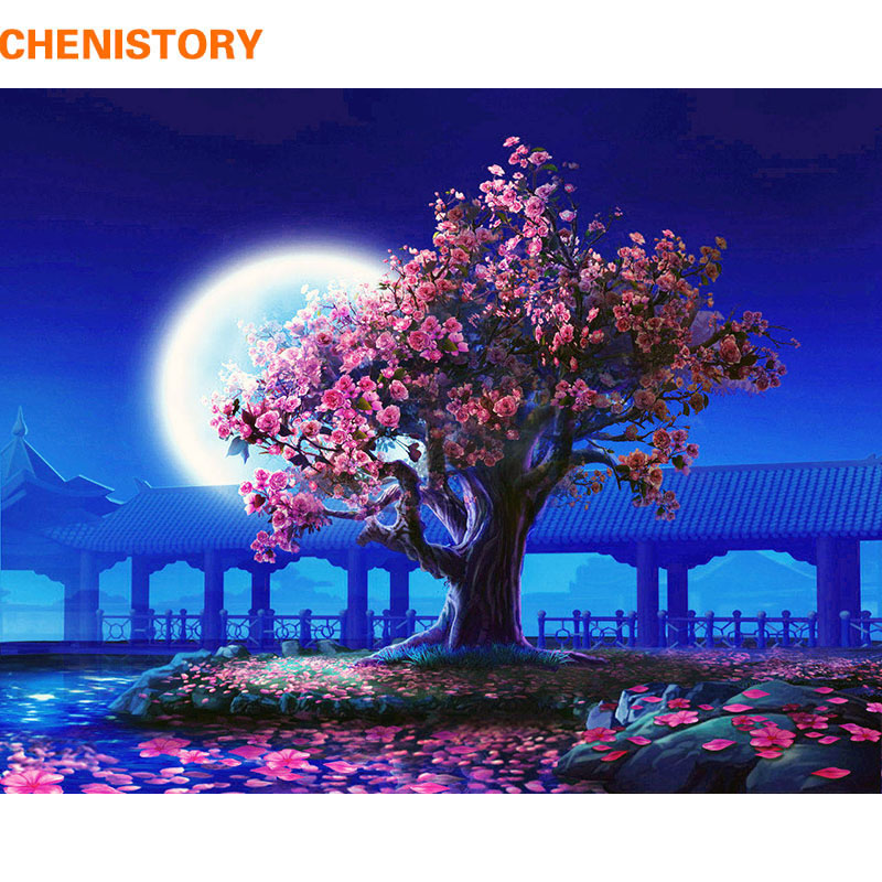 CHENISTORY 40x50cm DIY Painting By Numbers Romantic Moon Modern Wall Art Picture Handpainted Oil Panting For Home Decor No Frame