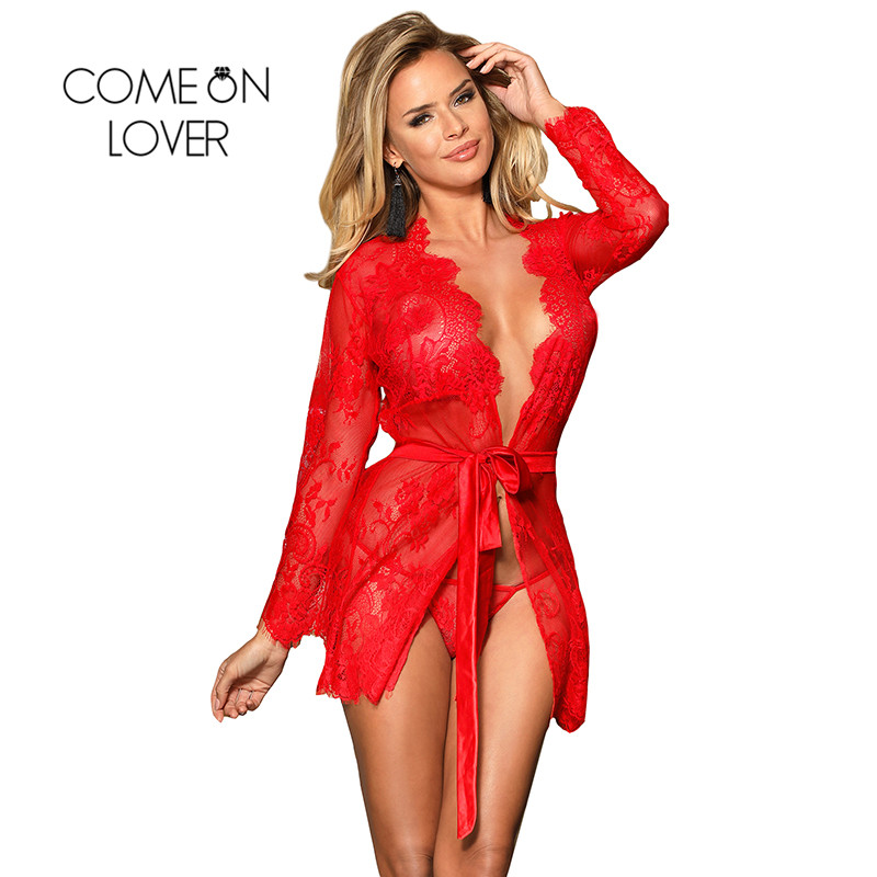 Comeonlover Sexy Lingerie Robe Sex Clothes For Women Plus Size Nightwear Black Lace Sexy Costume Dessous Sexy Hot Erotic RI80552 1