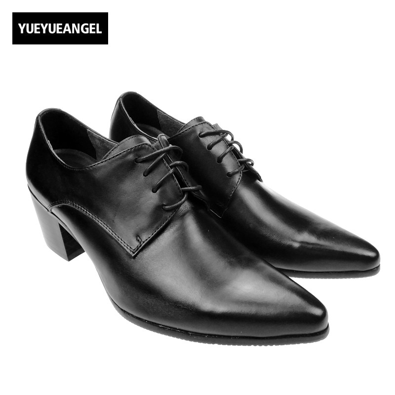 Italy Design High Quality Brand New Fashion Mens Lace Up Pointy Toe Oxfords Formal Dress Shoes Cuban Heels Leather Business Shoe top quality crocodile grain black oxfords mens dress shoes genuine leather business shoes mens formal wedding shoes