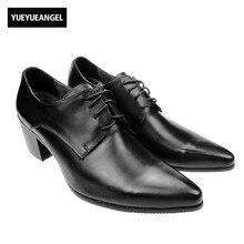 Итальянский дизайн высокое качество Фирменная Новинка Модные мужские на шнуровке с острым носком оксфорды Представительская обувь кубинский каблуки кожа в деловом стиле