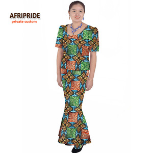 African classic traditional skirt set for women AFRIPRIDE short sleeve yop+ankle length trumpet skirt casual women set A622618