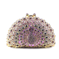 Purple Peacock Crystal Clutch Bags for Women Metallic Clutch Purse Red Golden Silver Peacock Crystal Evening Bag for Prom Party