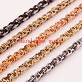 "7~40"" Charming 4mm Jewelry 316L Stainless Steel Silver/Gold/Black/Rose Gold Byzantine Box Chain Men's Women's Necklace/Bracelet"