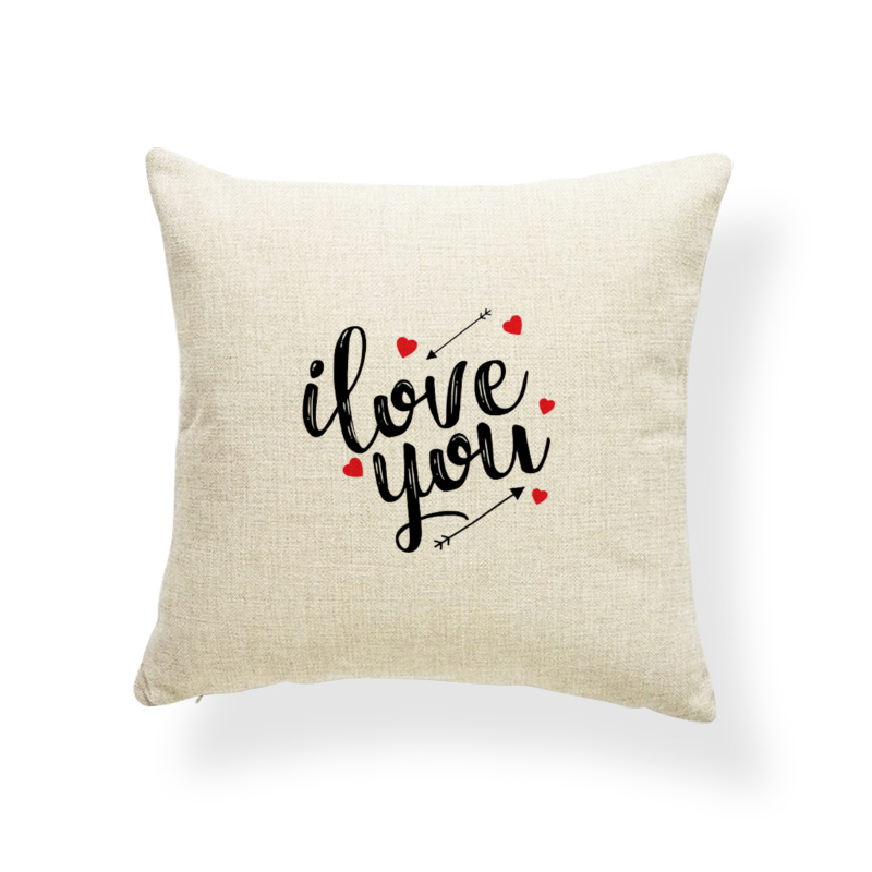 Happy ValentineS Day Letter Cushions Love You Forever Pillow Case Living Room Baby Birth Gifts Throw Pillow Cover 17X17 Linen