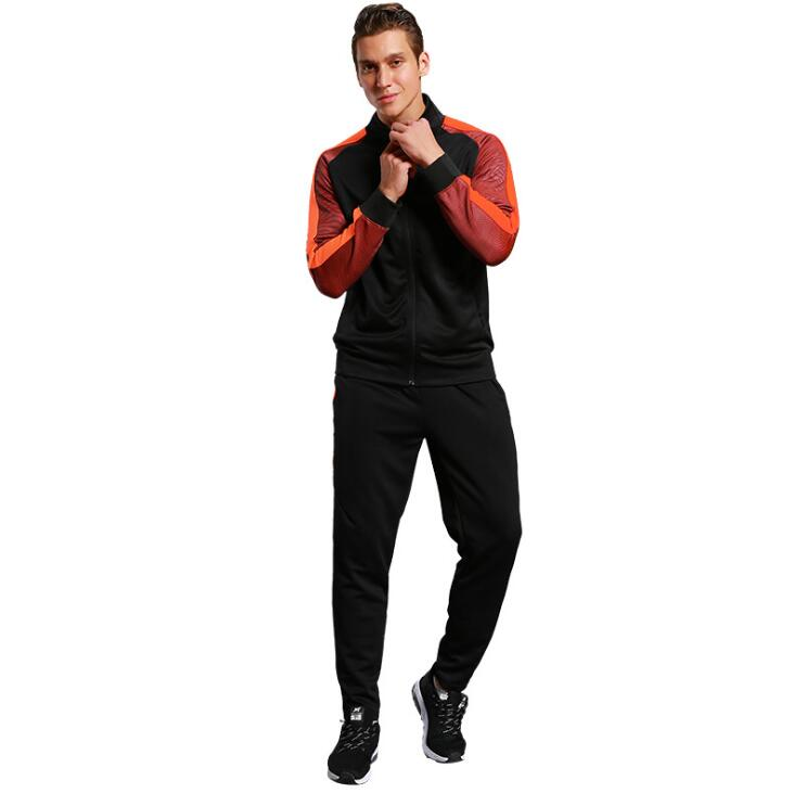 Ue automne hommes course Sport costume séchage rapide homme Jogging survêtements à manches longues t-shirts + fitness pantalon basket Football costumes