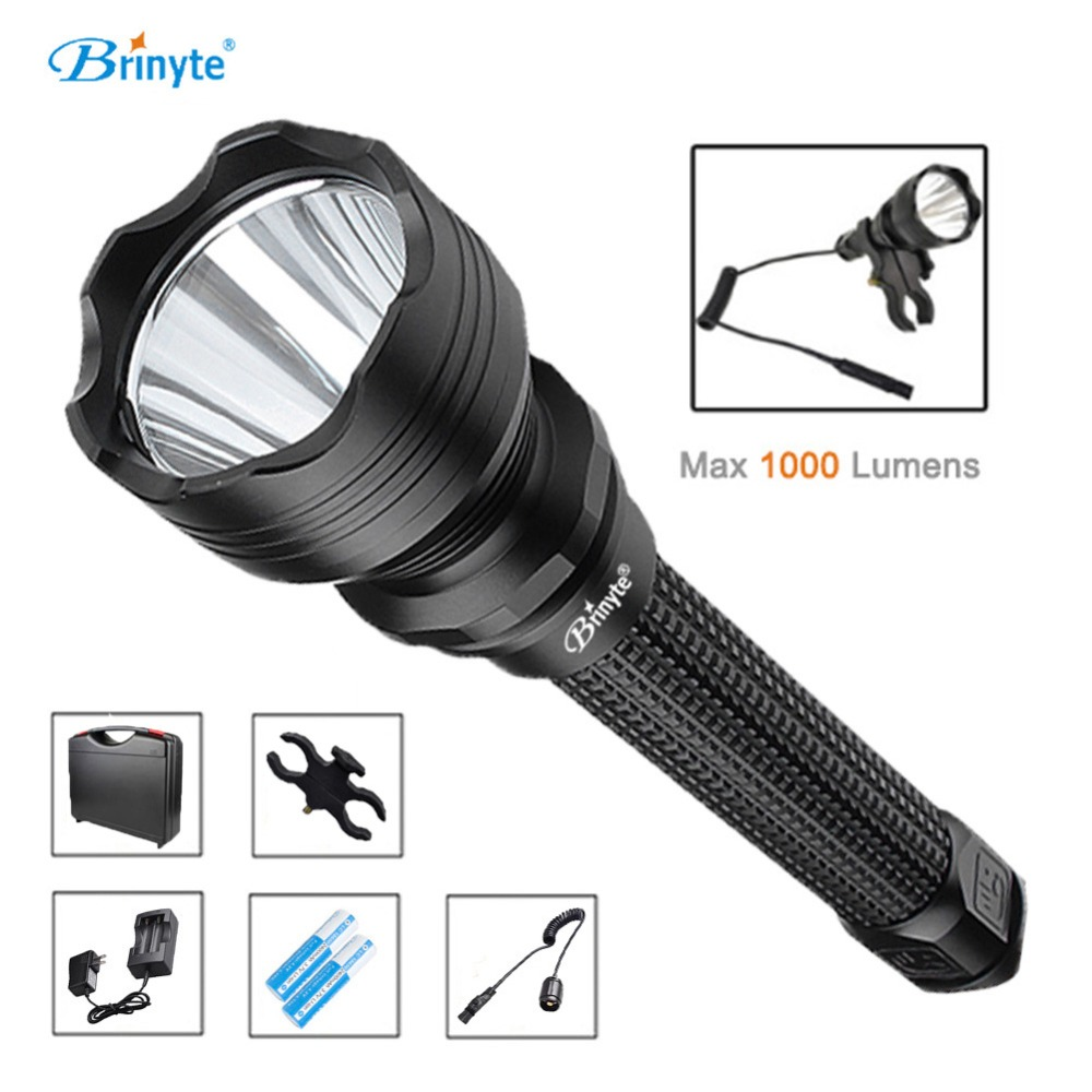 Brinyte S18 High Power Tactical Torch Lamp Cree XM-L2 U4 LED Search Rescue Flashlight with Gun Mount 18650 Battery and Charger brinyte s18 high power tactical torch lamp cree xm l2 u4 led search rescue flashlight with gun mount 18650 battery and charger