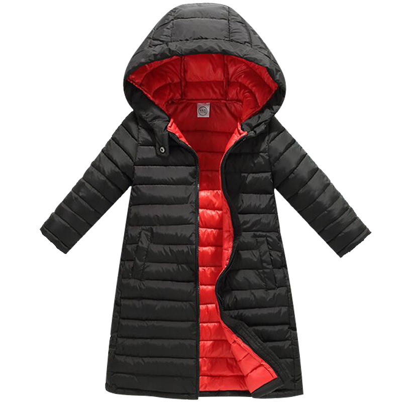 Teens Children's autumn and winter new cotton coat boys girls long baby thick hooded down cotton coat warm cotton clothes plus size casual women long cotton jackets 2017 autumn winter new hooded thicker coat full sleeve loose warm cotton coat qh0446