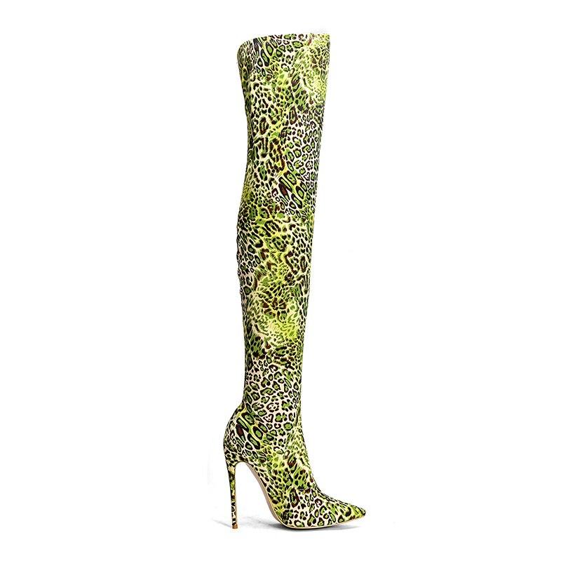 Cuissarde Wetkiss Vert 2018 Chaussures Femmes Imprimé Toe Stilettos Léopard Pointu Sur Sexy Stretch Talons Dames Boot Genou Femme TqBprAqX