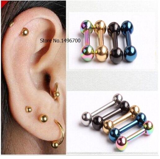 Retro 3mm dos homens de Aço Inoxidável Bola Barbell Ear Piercing Studs  Brincos de Ouro Preto 594ddc405f
