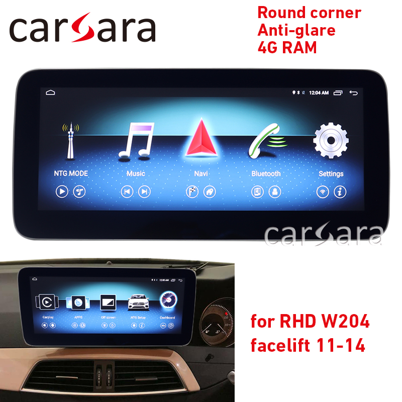 Head unit navigation <font><b>W204</b></font> facelift <font><b>RHD</b></font> multimedia player round corner touch screen anti-glare display 10.25