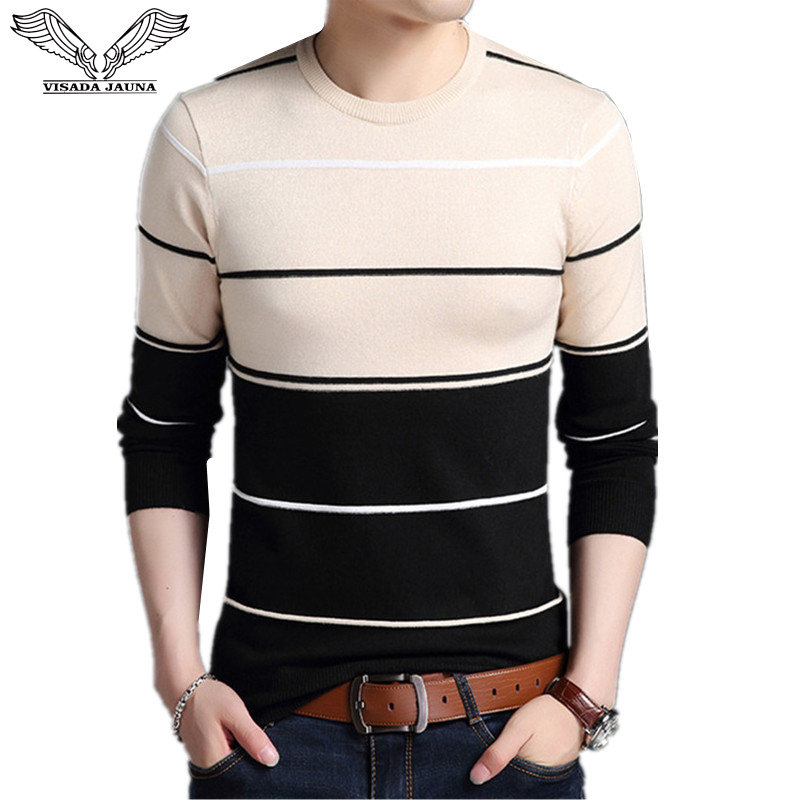 VISADA JAUNA 2017 Casual Winter Men Sweater O-neck Fashion Mens Sweaters 4XL High Quality Knitting Sweaters Men Pullover N6602