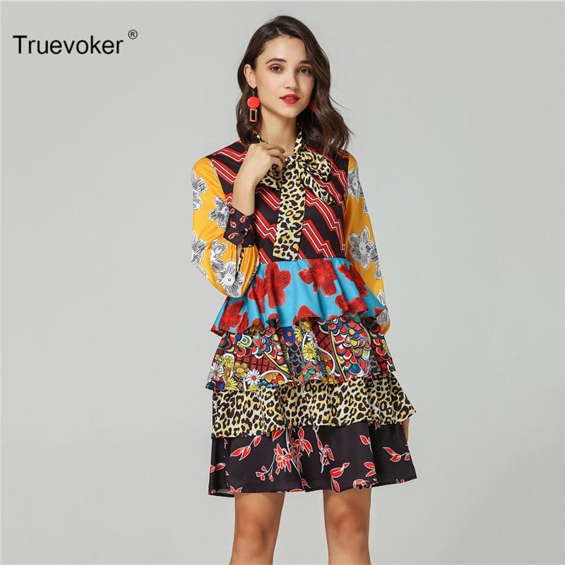 Truevoker Spring Designer Vestido Women s Puff Sleeve Bow Collar Vintage  Ethnic Printed Layer Ruffle Resort Dress 97dbbe55cfb3