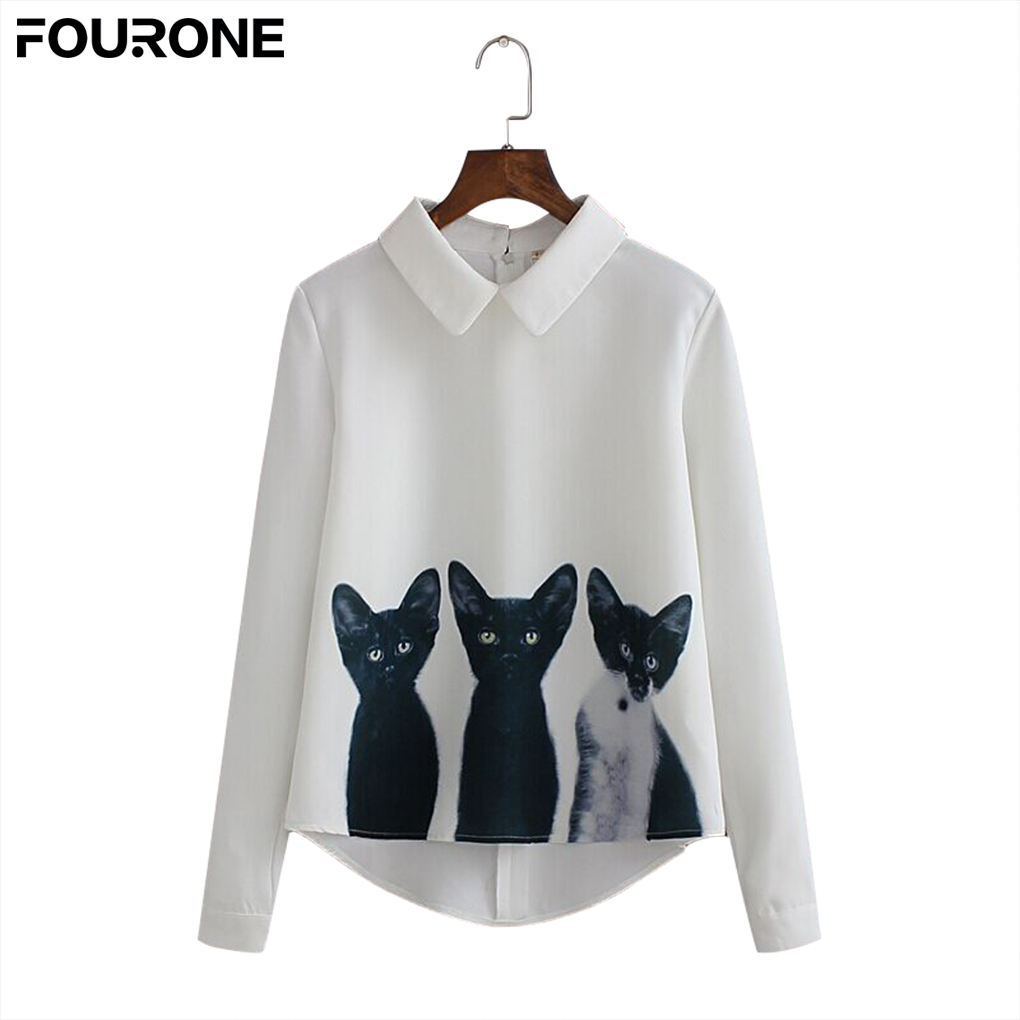 US $4.11 38% OFF|2018 Fashion Casual Autumn Women Chiffon Shirt Three Cats Tops Long Sleeve Loose Breathable Shirt-in T-Shirts from Women's Clothing & Accessories on Aliexpress.com | Alibaba Group
