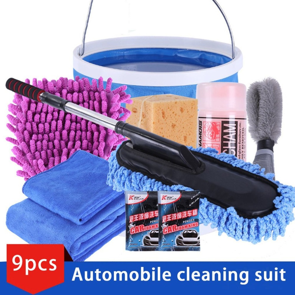 New 9pcs/set Vehicle Cleaning Kit To Wash Car Exterior & Interior Home Cleaning Kit Microfiber Towels Cleaning Kit
