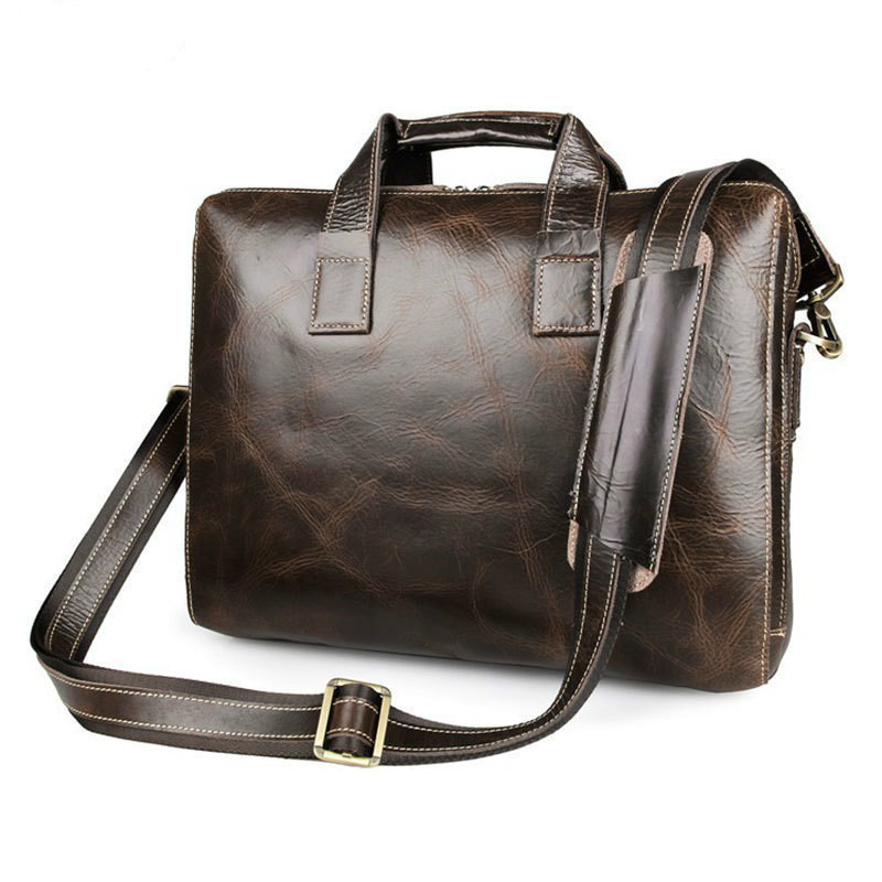 Vintage Oil Glossy Leather Cowhide Two Zipper Compartments Men's Briefcase Business Handbag Fit For 15 Inch Laptop PR087167C-1